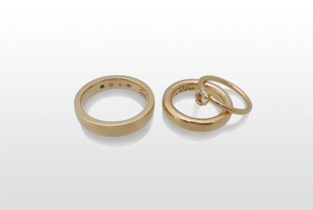 Trauringe mit Vorsteckring, 750 /- Gold
