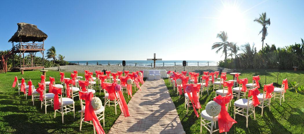 Montaje en playa, para la boda religiosa