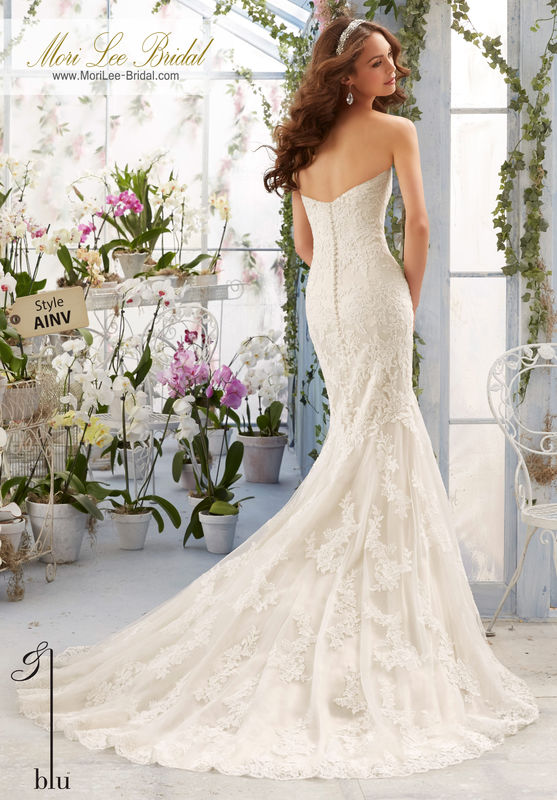 """Dress Style AINV Embroidered Lace Appliques On Net Over Soft Satin With Scalloped Hemline  Available in Three Lengths: 55"""", 58"""", 61"""". Colors available: White, Ivory, Ivory/Coco."""