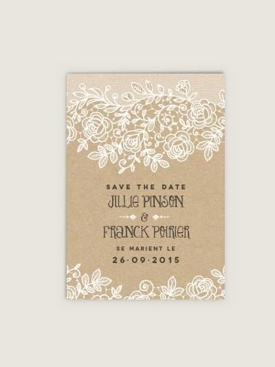 Save the Date Dentelle et Kraft Dioton.fr