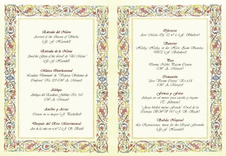 Programas de mano para ceremonia