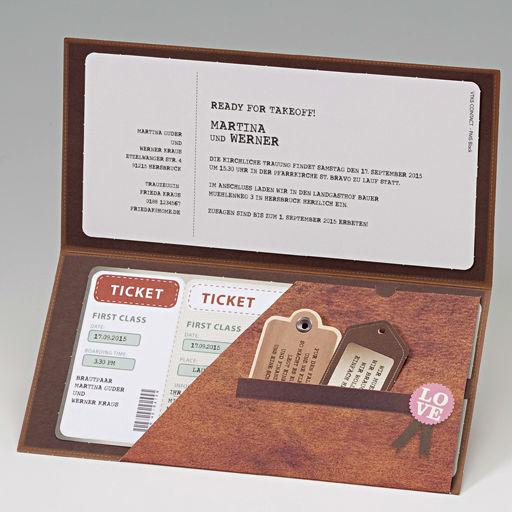 Belarto-Einladungskarte in Form eines Flugtickets, Cela-Design