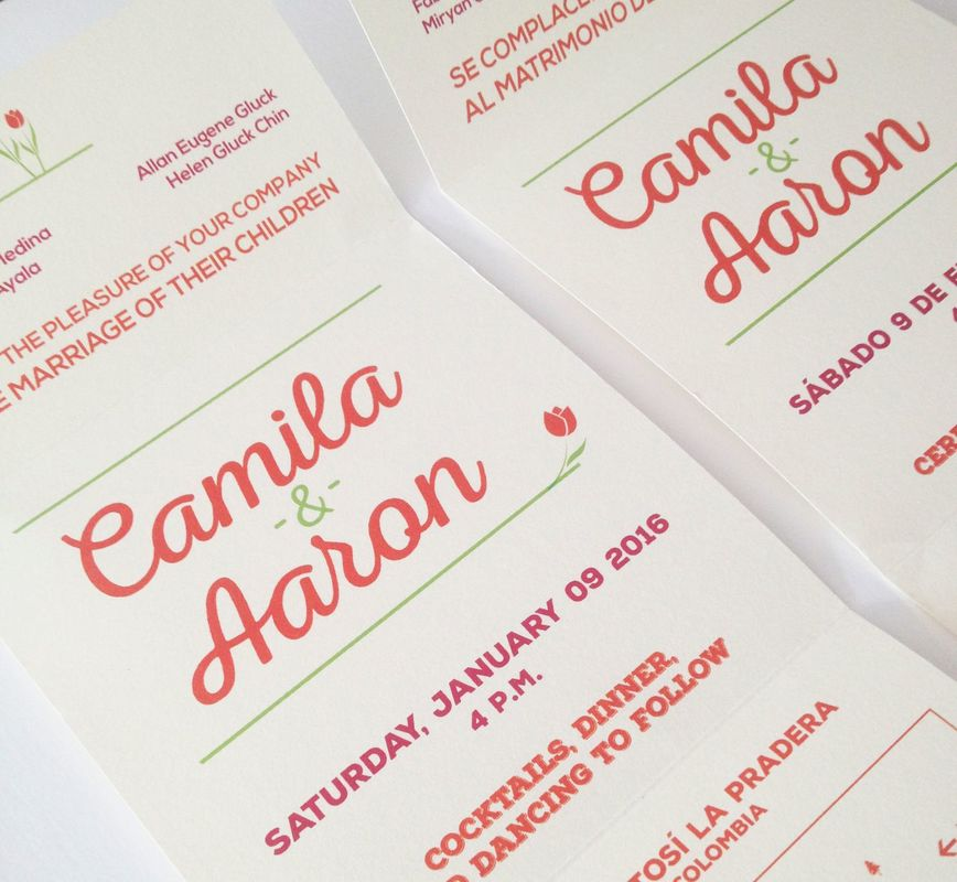 Diseño de invitaciones para matrimonio.