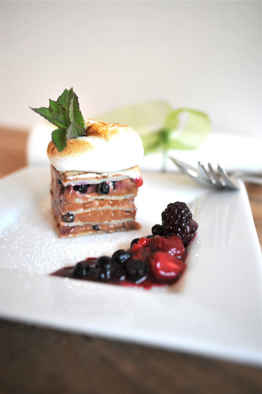 Beispiel: Trüffelmousse-Lasagne, Foto: AmVieh-Theater.