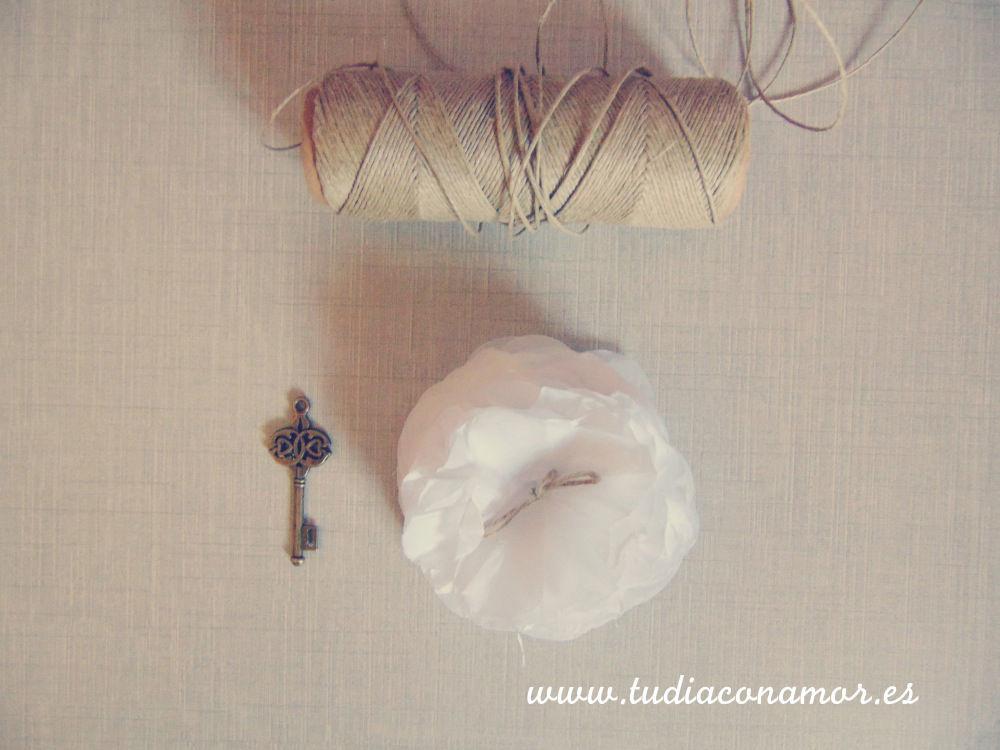 Flores de papel decorativas para boda rústica o vintage
