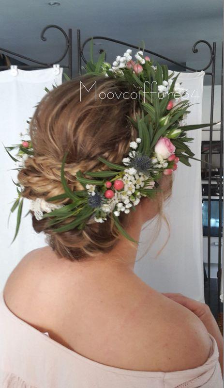 chignon-bohème-mariage-couronne-fleurs