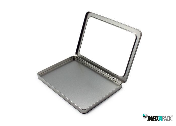 Embalagem de metal com janela.