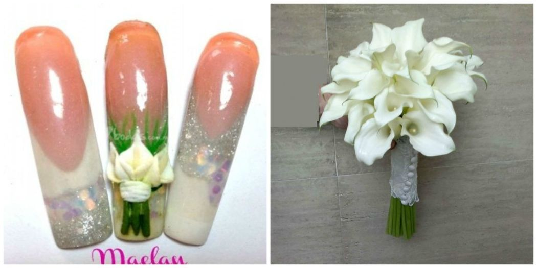 Uñas con diseño exclusivo para boda, ramo alcatráz