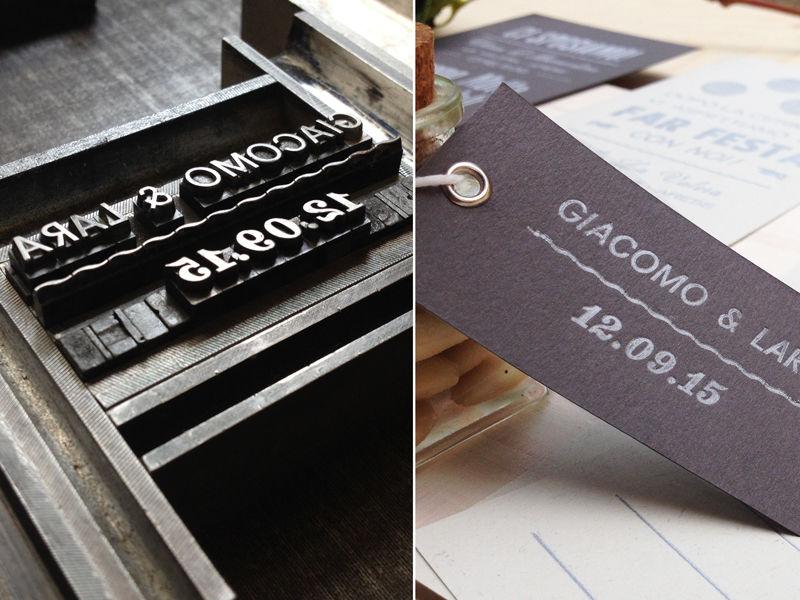 Composizione a caratteri mobili del cartellino per la bomboniera.