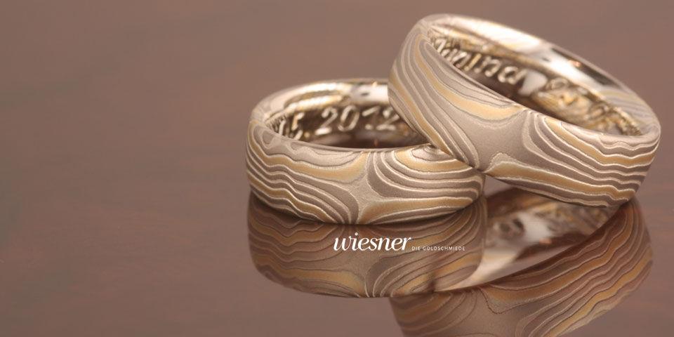 Beispiel: Eheringe in alter japanischer Tradition, Foto: Wiesner - Die Goldschmiede.