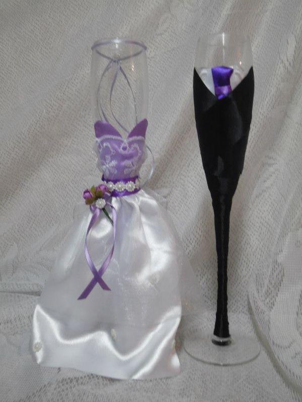 Copas de novio vestidas  lila