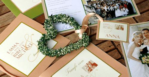 Beispiel: Hochzeitspapeterie, Foto: Bibagrafik.