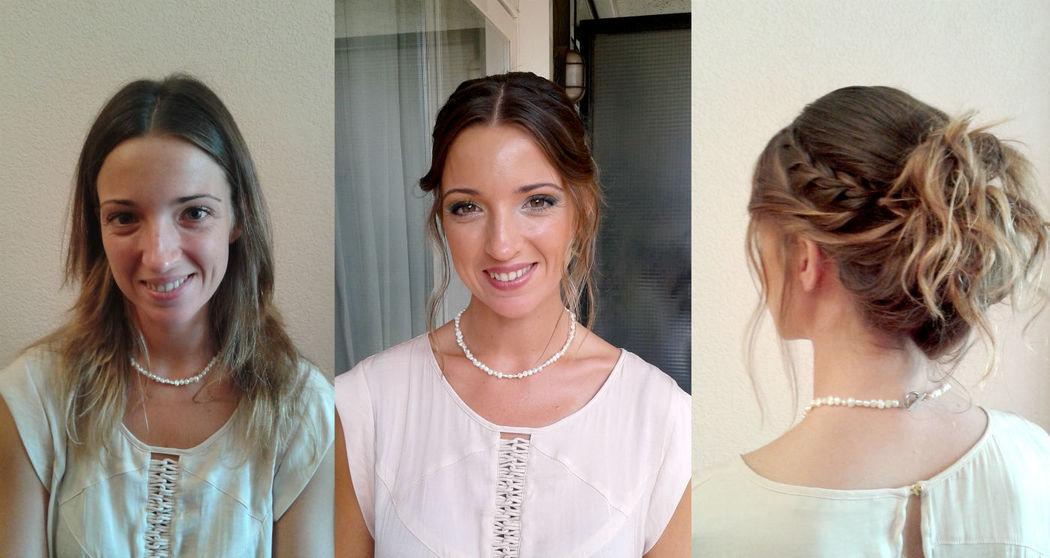 Antes y después de maquillaje y recogido para invitada de boda