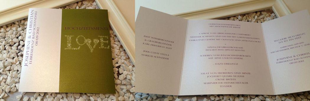 Beispiel: Drucksachen zur Hochzeit, Foto: cardstyle.de.