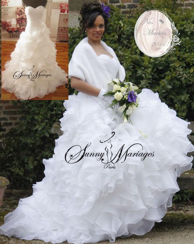 Robe de mariée bustier drapé et froufrou http://sunnymariages.com