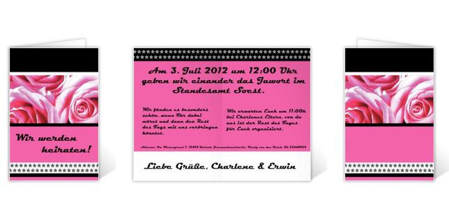Beispiel: Hochzeitskarte, Foto: poobies.ch.