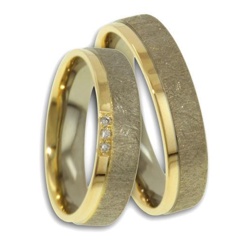 Beispiel: Trauringe - Palladium mit Diamant, Foto: Designer Diamonds München.