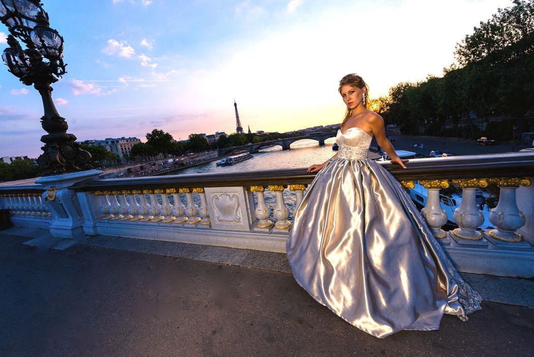 Robe de mariée Couleur de Lune Agnès Szabelewski photo:J&TPhoto Paris