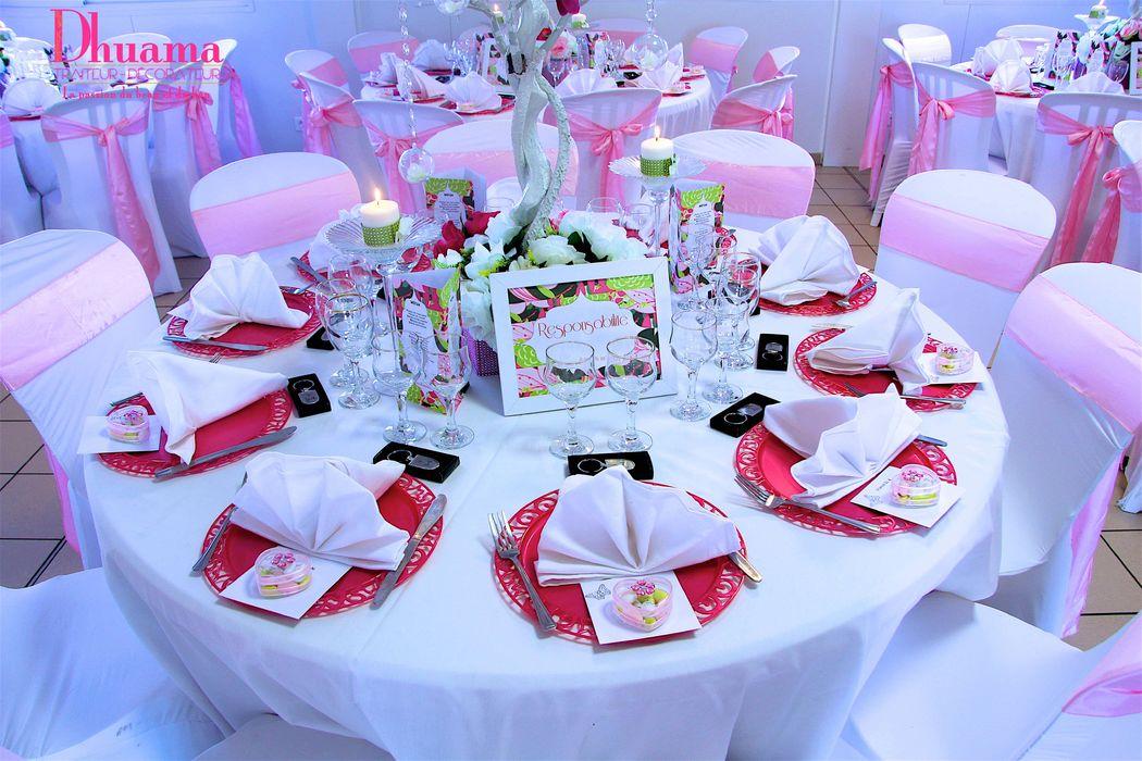 Décoration mariage rose et blanc: Dhuama traiteur africain