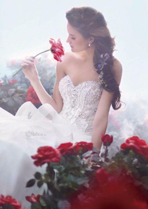 """Princesa: Belle (cuento Bella y la bestia) 217 Estilo: Disney 217  """"Este encantador vestido de novia encarna la verdadera belleza y generosidad del alma de Belle. Detalles magicos y pliegos en la falda canta la promesa de un destino de verdadero amor"""""""