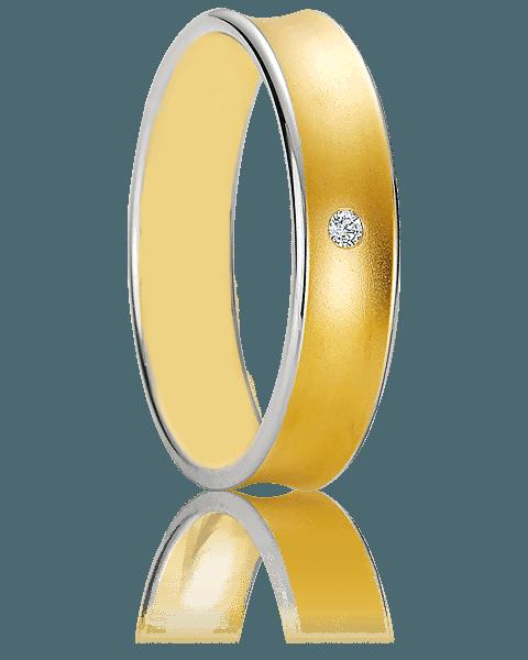 Anillo de boda bicolor de oro 18k con un diamante