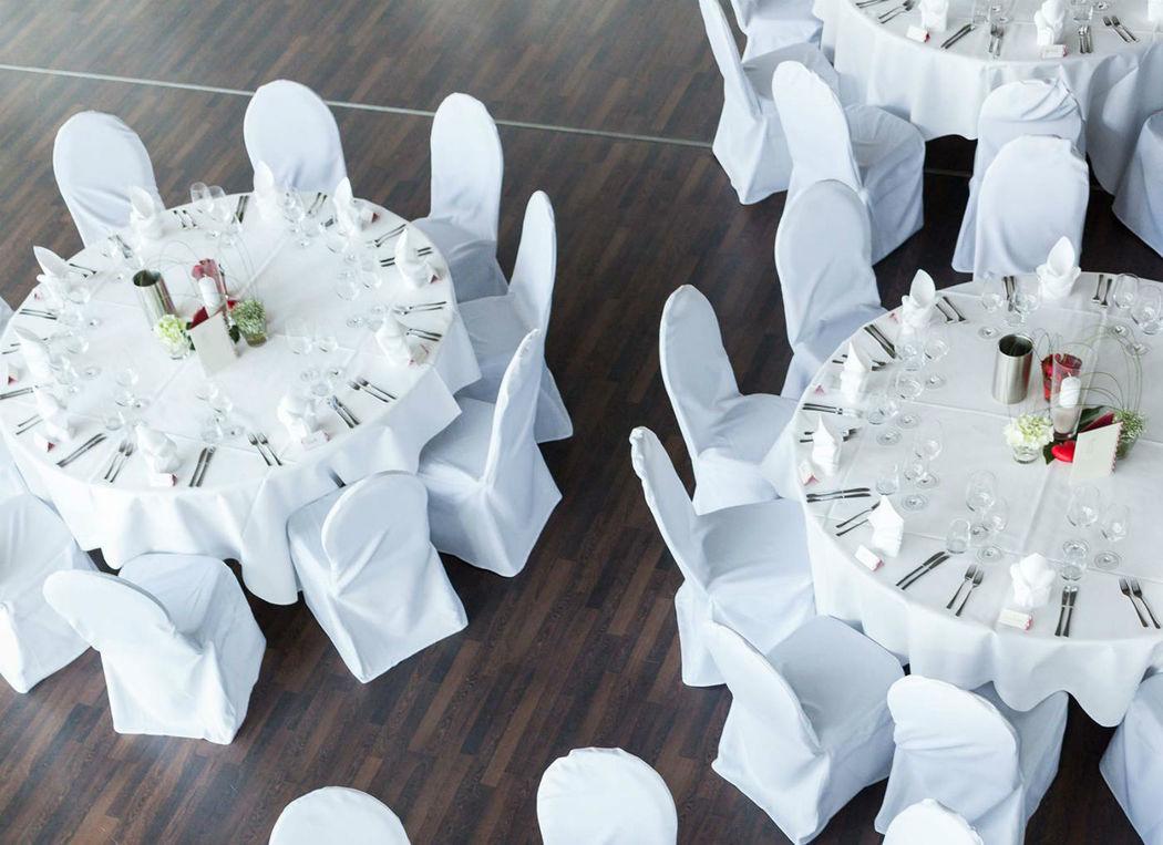 Beispiel: Hochzeitsbankett - Vogelperspektive, Foto: Expowal.