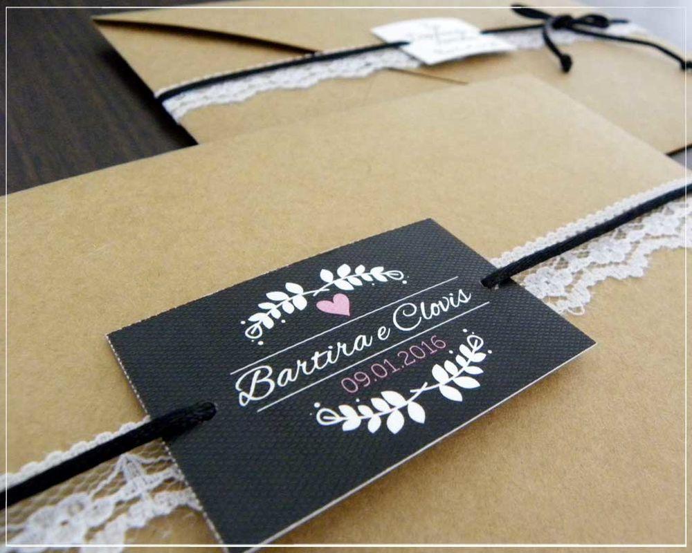 Convite Kraft & Renda | Giselle Branco