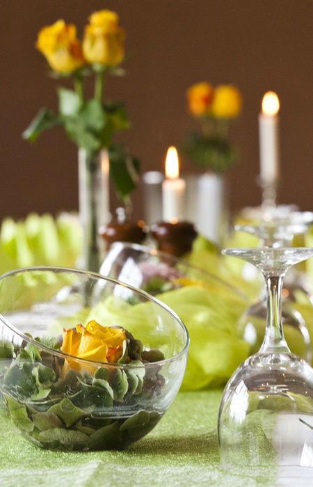 Beispiel: Tischdekoration, Foto: Hotel Alte Feuerwache.