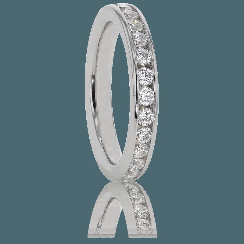 Alianza de Boda diamantes engastados en carril, en oro blanco 18k