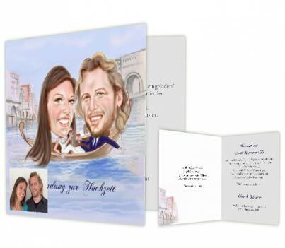 Beispiel: Einladungskarte mit persönlichem Portrait, Foto: Hochzeitskarten-Traum.
