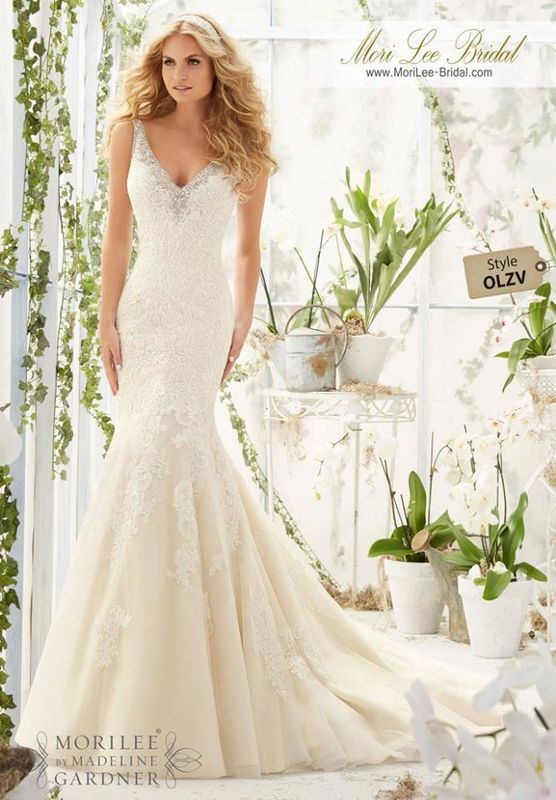 Wedding Dress OLZV  Crystal Beaded Edging Meets the Cascading Alencon Lace Appliques on net Over Soft Satin  Colors Available: White/Silver, Ivory/Silver, Champagne/Silver