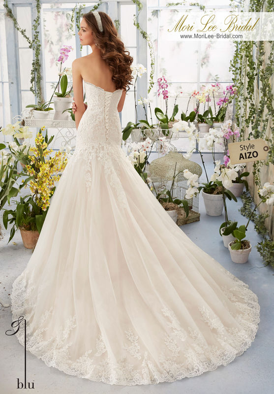 """Dress Style AIZO Alencon Lace Appliques On Tulle Gown With Scalloped Hemline  Available in Three Lengths: 55"""", 58"""", 61"""". Colors available: White, Ivory, Ivory/Cameo."""