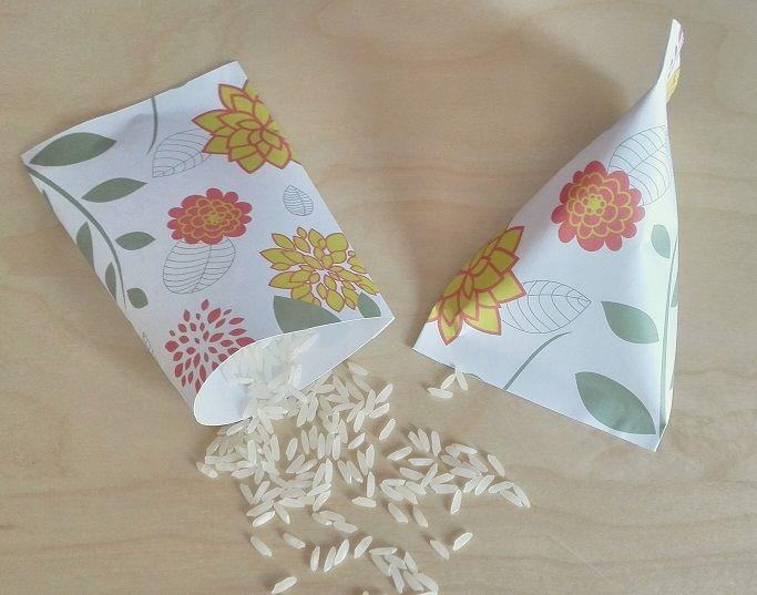 Paquetes para Arroz, Pétalos o Confeti Motivo: Flores Color: Verde y Rosa