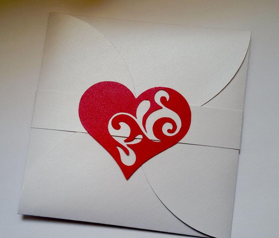 Invito di Nozze cuore Rosso