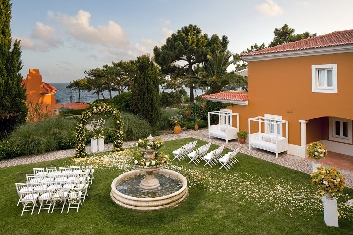 Real Destination Wedding Ceremony in The Fountain Garden in the Senhora da Guia Hotel, in cascais, Portugal