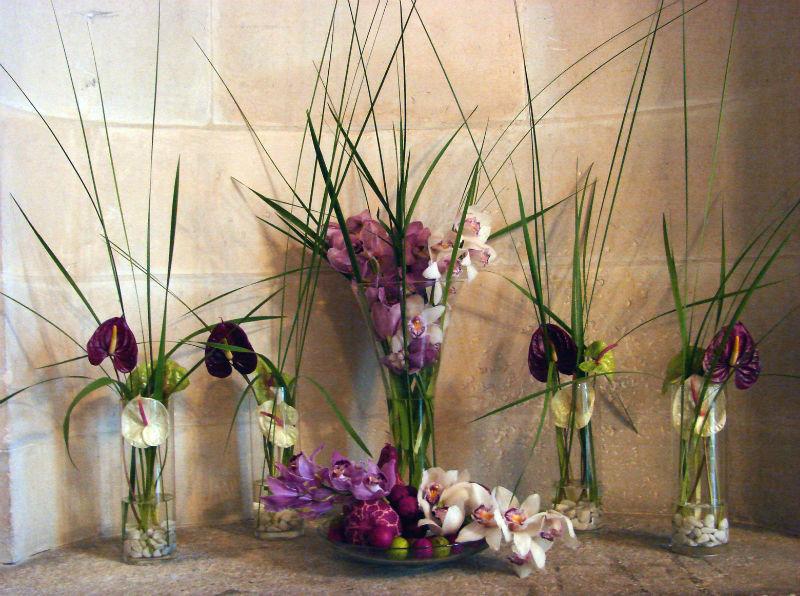 Décoration florale de l'espace cocktail
