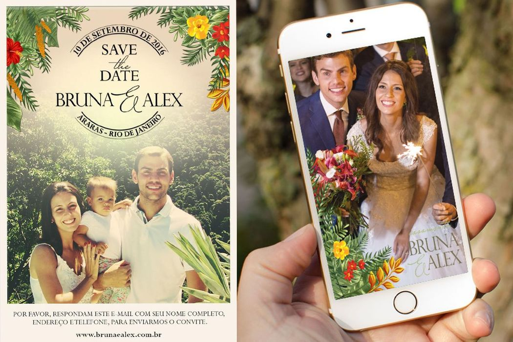 Bruna e Alex - Save the date e filtro de Snapchat para o dia do casamento