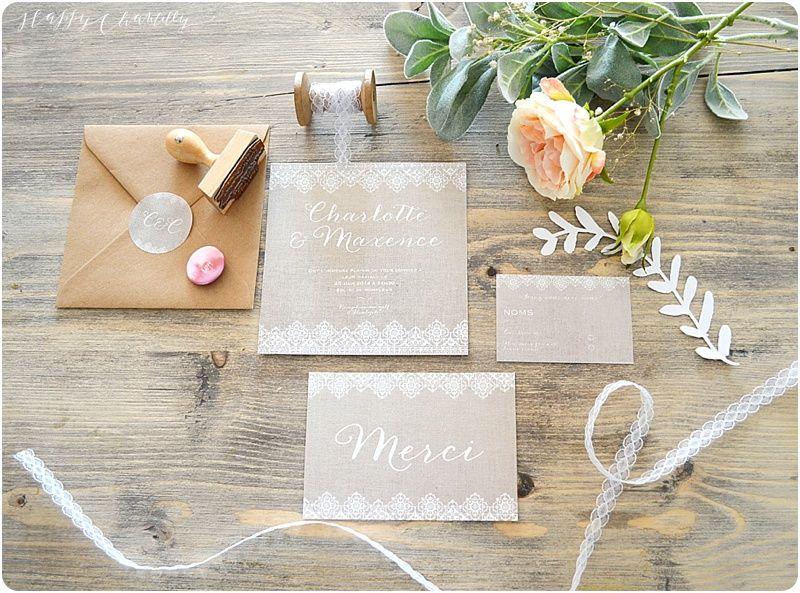 Faire-part mariage Dentelle et lin Romantique et rustique Happy Chantilly
