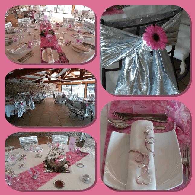 Création de la décoration en argent et fuchsia sur le thème des fleurs. Fabrication des ronds de serviettes, compositions florales, nœuds de chaises...
