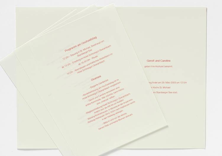Beispiel: Von Einladung bis Menükarten, Foto: Druckerei Friesl.