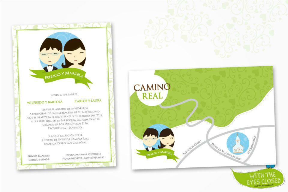 With the eyes closed. - Convite com desenho personalizado
