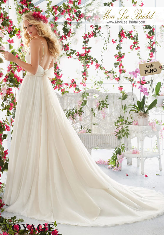 Dress Style FLNO Asymetrically Draped Bodice With Shoestring Straps On Soft Net Gown  Removable Beaded Satin Belt. Colors available: White, Ivory, Ivory/Light Gold, Ivory/Blush.