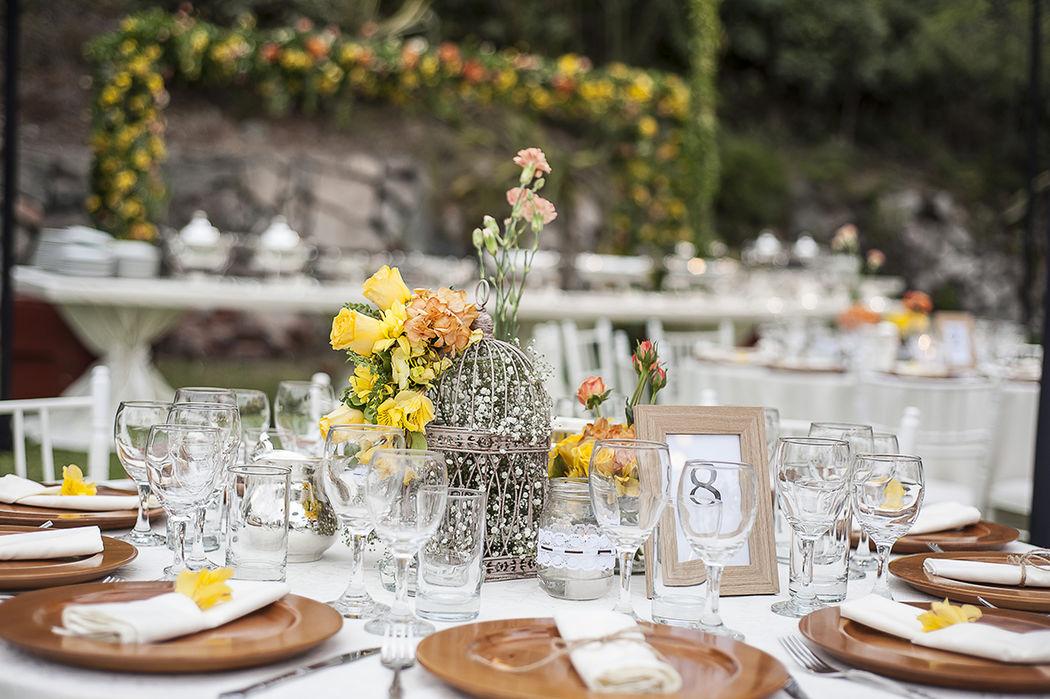 Platos de madera, flores campestres, cuadros de madera, soguillas, etc, son los detalles que resaltan en una boda de campo.