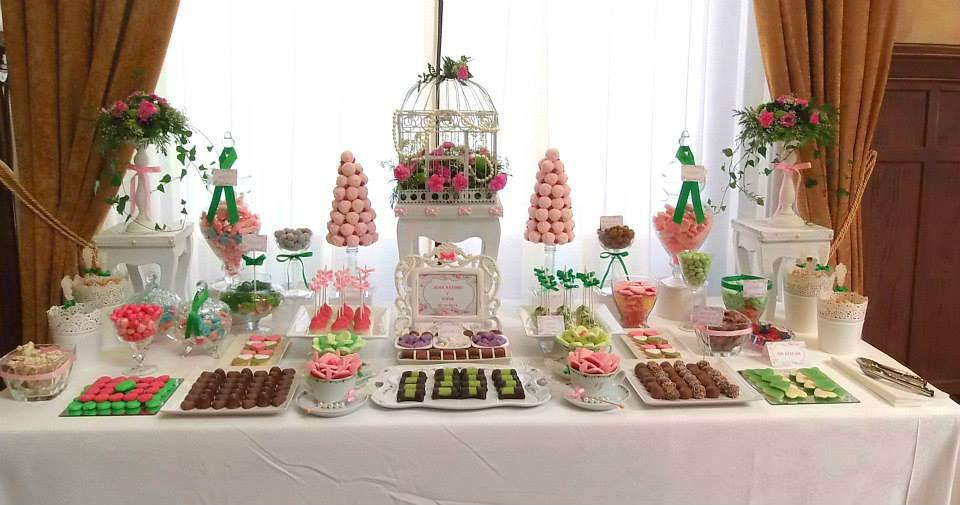 Candy bar en rosa y verde