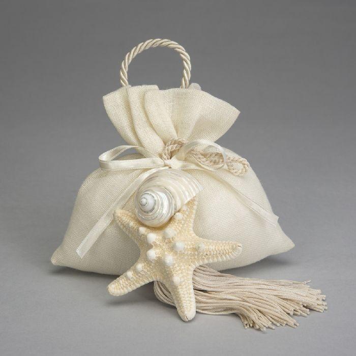 e Bomboniere: Sacco in lino con nappa e conchiglie