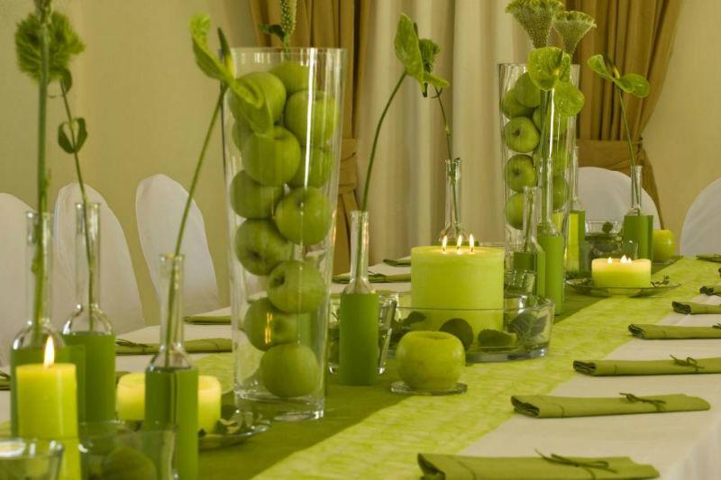 Beispiel: Hochzeitsgedeck Variante grün, Foto: Hofgut Bergerhof.