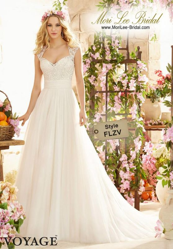 Style FLZV Majestic Embroidery On Soft Net  Colors Available: White, Ivory, Champagne
