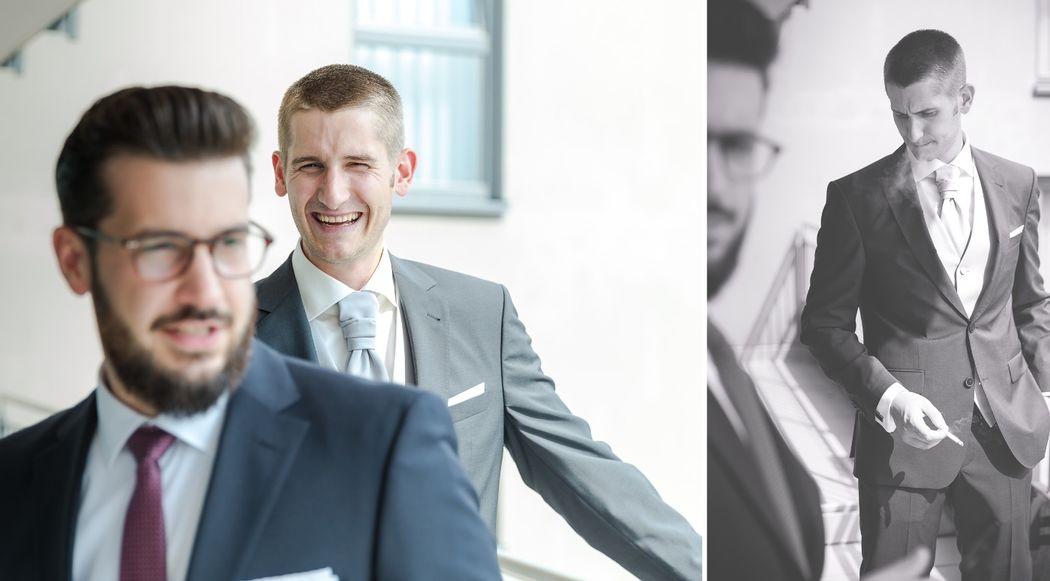 Momentaufnahmen des nervösen Bräutigams.