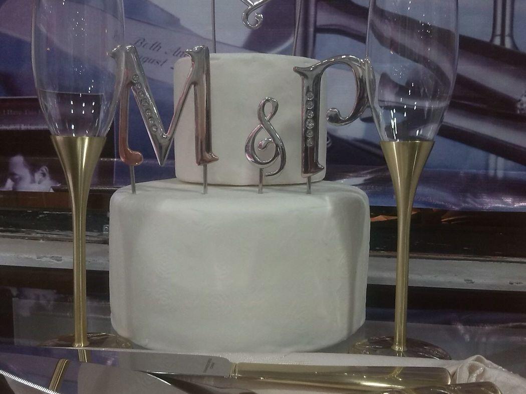 Copas de Cristal Venecia Gold en con Cake topper de Anagramas