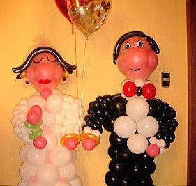 Beispiel: Hochzeitsdekoration Ballonfiguren, Foto: Ballondeko rund und bunt.